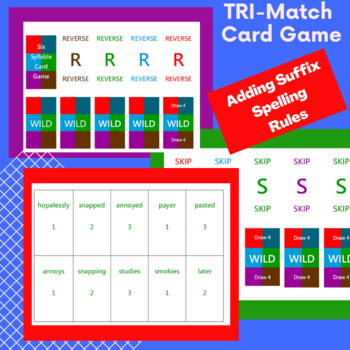 3 Great Spelling + suffix rules Tri Match card game-Orton Gillingham