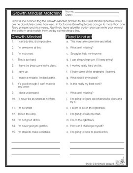 Growth Mindset Activities Brochure Sorting Cards Match Up Worksheet