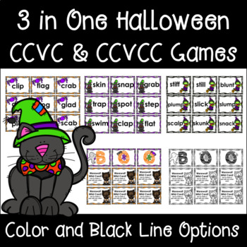 Halloween CCVC & CCVCC Blend Word Games 3 in One - Color & Black Line