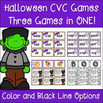 3 Halloween CVC Word Card Games in One - Literacy Centers & Take Home