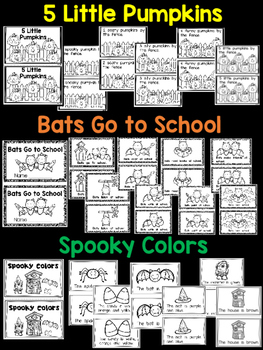 3 Halloween/ October Emergent Readers {Bats, Pumpkins, Spiders} Kindergarten