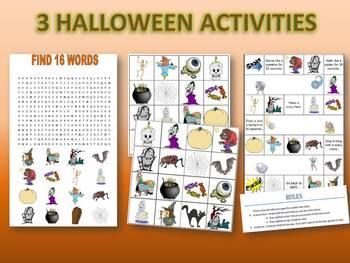 3 Haloween Activities! - NO PREP (WORDSEARCH, BINGO, BOARD GAME)