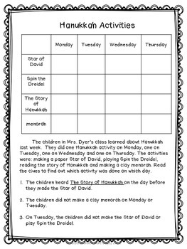 Hanukkah Themed Logic Puzzles For Beginners! Grades 2, 3 and 4