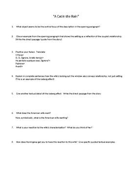 3 Hemingway stories Analysis Questions