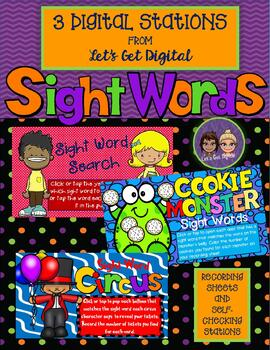 3 INTERACTIVE DIGITAL TASK CARD STATIONS - Identify and Match Sight Words