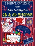 3 INTERACTIVE DIGITAL TASK CARDS-2D and 3D Shapes-Nautical Theme