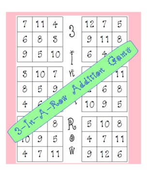 3-In-A-Row Addition Dice Game - SMARTBoard & Paper Versions - Grades K, 1, & 2