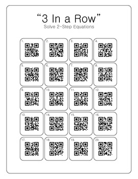 3 In a Row Game [2 Step Equations] with QR Codes