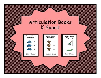 3 K Sound Counting and Rhyming Adapted Velcro BOOKS, Speech Therapy, Artic