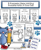 Name Activities: 3 Keepsake Name Writing Booklets With a Cat Theme