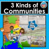 3 Kinds of Communities: Urban, Suburban, Rural - Complete Project & Rubric