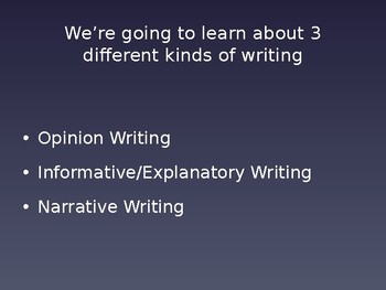 3 Kinds of Writing:  Opinion, Informational, Narrative