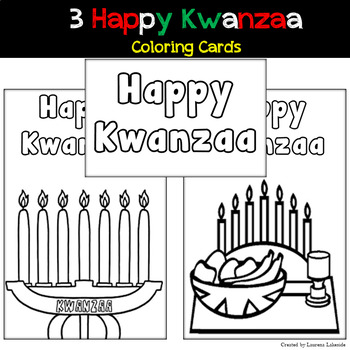 3 Kwanzaa Coloring Cards: Unique, Keepsake Cards: Creative and Interactive: Fun