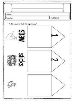 3 LITTLE PIGS WORKSHEET 3&4 YEARS OLD