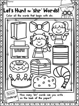 """3 Letter Blends """"SHR"""" Phonics Literacy Printables Trigraphs"""