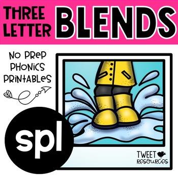 "3 Letter Blends ""SPL"" Phonics Literacy Printables Trigraphs"