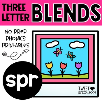"3 Letter Blends ""SPR"" Phonics Literacy Printables Trigraphs"