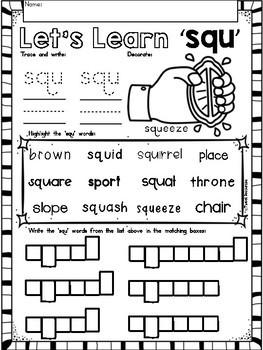 "3 Letter Blends ""SQU"" Phonics Literacy Printables Trigraphs"