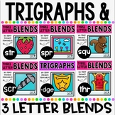 3 Letter Blends and Trigraphs BUNDLE Phonics Literacy NO PREP Printables