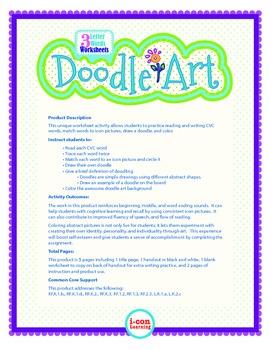 3 Letter CVC Words + Doodle Art - Pac 3
