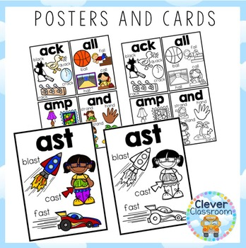 3-Letter Word Family Posters and Cards BUNDLE
