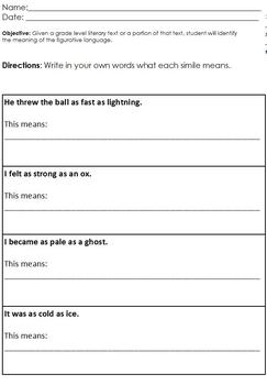 3-Level Differentiated Simile Worksheet;