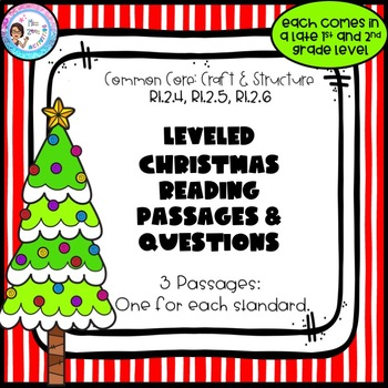3 Leveled Christmas Reading Passages and Questions - Craft and Structure