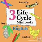 3 Science Life Cycle Minibooks in English: Frog, Butterfly