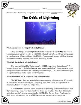 3 Summer Reading Comprehension Passages and Questions: Lightning Strike Reading