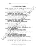 3 Little Animal Tales Companion Lyrics Sheet