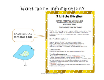 3 Little Birdies Fingerplay with SmartBoard file