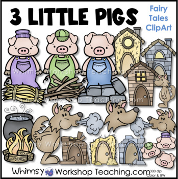 three little pigs clip art by whimsy workshop teaching tpt rh teacherspayteachers com three little pigs clipart black and white 3 little pigs clipart black and white