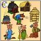 3 Little Pigs Clipart | Full set