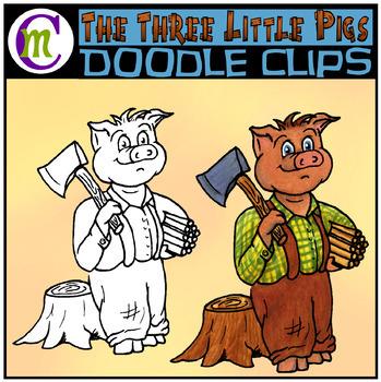 3 Little Pigs Clipart | Woodcutter Pig