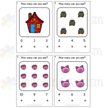 3 Little Pigs Counting Task Cards