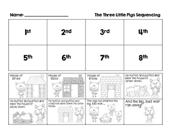 3 little pigs sequencing by mrs p 39 s firsties teachers pay teachers. Black Bedroom Furniture Sets. Home Design Ideas