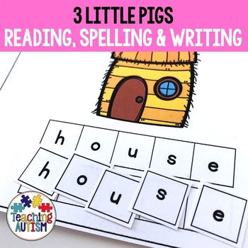 3 Little Pigs Activities: Spelling and Handwriting Task Cards