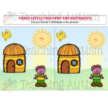 3 Little Pigs Activities: Spot the Difference