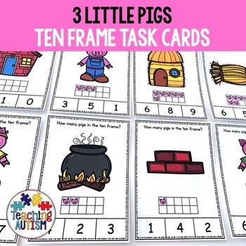 3 Little Pigs Ten Frame Task Cards