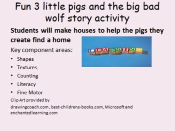 3 Little pigs basic shapes and literacy activity, incorporates a pentagon shape