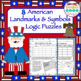 American Landmarks & Symbols Logic Puzzles  8 Puzzles!