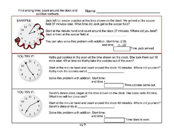 3.MD.1 23 page clocks packet. time to the minute, word problems, elapsed time