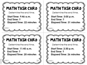 3 md 1 3rd grade math task cards telling time and time word problems. Black Bedroom Furniture Sets. Home Design Ideas