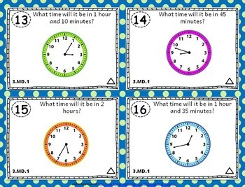 3.MD.1 Task Cards: Telling Time to the Minute & Elapsed Time Task Cards 3.MD.1