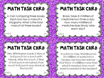 3.MD.2  3rd Grade Math Task Cards (Measurement: Mass and Liquid Volume)