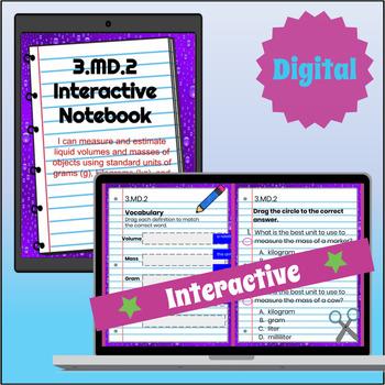 3.MD.2 Interactive Notebook: Volume & Mass for Google Classroom™