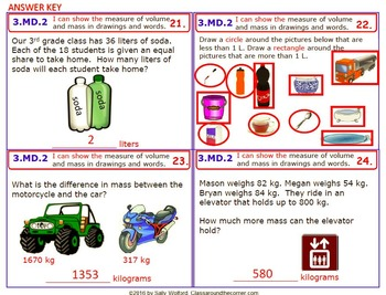 3.MD.2 Math 3rd Grade NO PREP Task Cards—MEASUREMENTS PRINTABLES