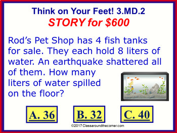 3.MD.2 THINK ON YOUR FEET MATH! Interactive Test Prep Game—Volumes & Masses