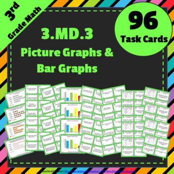 3.MD.3 Task Cards: Bar Graphs & (Picture) Pictographs Task