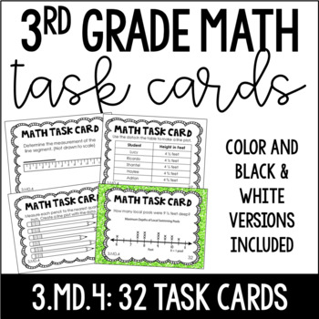 3.MD.4 3rd Grade Math Task Cards (Measuring and Creating Line Plots)